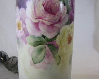 Vase hand painted with Pink, Ruby and Yellow Roses