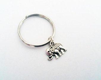 Tiny elephant keychain, silver keychain, elephant charm, ornate elephant key ring indian elephant key chain animal keychain elephant key fob