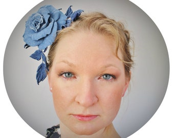 Denim flower hair piece, denim fascinator, denim headdress, denim wedding, denim headband, denim rose hairpiece, jeans headband
