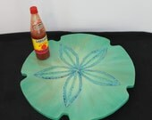 Centerpiece, Turquoise Lazy Sue, Sand Dollar, turntable, Beach Wedding, Wedding Centerpiece, Aqua Table Top decor, Coastal Home Turquoise