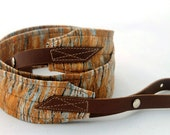 Birch Bark Banjo Strap with Chocolate Brown Leather