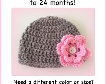 Grey and pink flower hat, baby girl flower hat, preemie, 0-3 months, newborn, 3-6 months, crocheted baby hat
