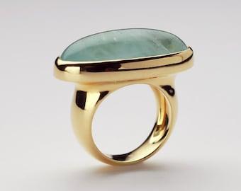 CIJ SALE 20% Off || Large Natural Aquamarine Cabochon Ring, 18k Gold Women Cocktail Ring, Birthstone Cabochon, Bold Statement Ring Gemstone