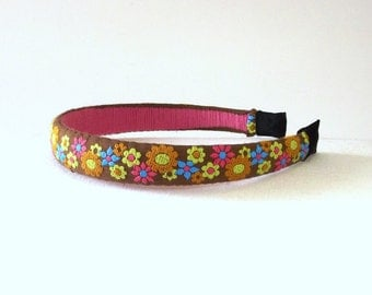 Retro Flower Headband - Vintage Fabric Hair Accessory - Multi Color Flower Hair Band