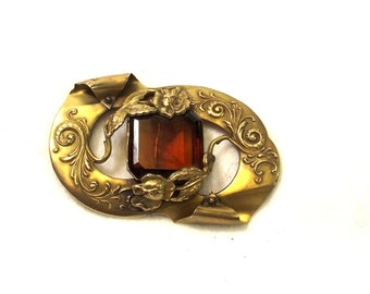 Antique Stone Sash Pin - Amber Stone Brooch - Victorian Pin - Antique Jewelry - Victorian Jewelry - Sash Jewelry - Wedding Sash Pin