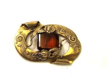 ON Sale, Antique Stone Sash Pin - Amber Stone Brooch - Victorian Pin - Antique Jewelry - Victorian Jewelry - Sash Jewelry - Wedding Sash Pin