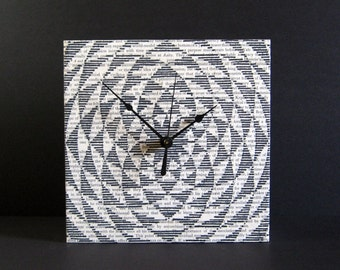 time is spinning - Kinetic Art Clock - Geometric Drawing on Book Paper Collage - 8 x 8 Square Art Tile Black & White Art - Modern Wall Decor