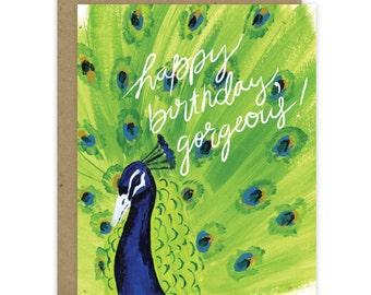 Happy Birthday Card Gorgeous, Birthday Card for sister, Wife Birthday, Girlfriend Card, Peacock Birthday Card, Recycled Birthday Card