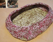 Cat Bed, Crocheted Cat Bed, Oval Cat Bed, Brown Pink