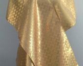 Gold metallic silk obi Wedding wrap shawl with shantung silk