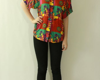 Vintage 1980's 90s NEON Geometric Print Boyfriend Button Up Shirt / Psychadelic Print Novelty HIPSTER Indie Abstract Ethnic Folk Shirt