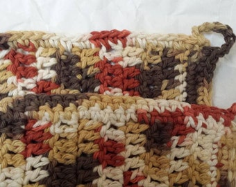 Dishcloths Set of Two in Fall Colors with Loop for Hanging Crochet Dish Cloths Thanksgiving Holiday Tan Brown Cream Kitchen Bath