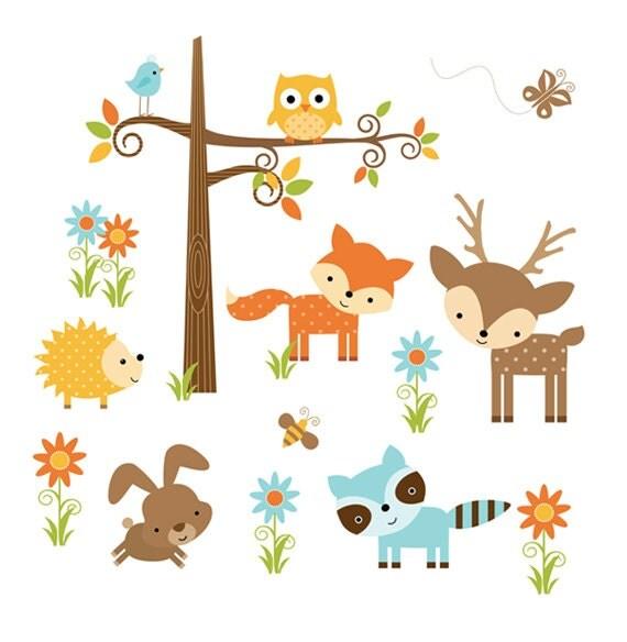 Woodland Nursery Decal Decor Animal Wall Art Girl Mural