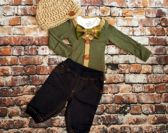 Newborn Baby Boy Coming Home Outfit Set. Cardigan Bodysuit, Bow Tie Bodysuit, Jean Jegging Pants, Newsboy Hat. Baby Shower. Gender Reveal