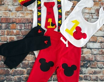 Mickey Mouse Inspired Birthday Tie and Suspender bodysuit, Red Pants, Leg Warmers, Hat, Baby Boy First Birthday Birthday, Cake Smash Mickey
