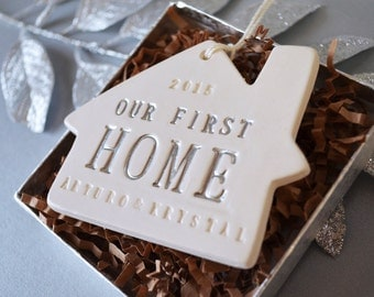 Personalized Christmas Ornament - Our First or Our New Home 2017 - Gift Boxed and Ready to Give
