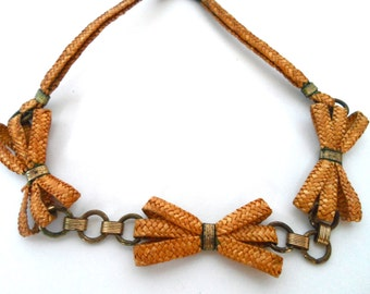 Woven Rope and Brass Link Choker Necklace with Bows Vintage Jewelry Woven Bow Necklace Vintage Choker Necklaces