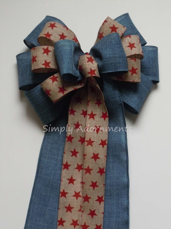 Rustic Patriotic Bow, July 4th Wreath Bow, Patriotic Denim Wedding Pew Bow, 4th of July Denim Bow,Patriotic Bow Election Day Bow.