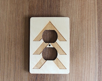Wood Laser Cut Chevron Light Switch Plate / Outlet Cover (electrical plate)