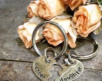 Mother Daughter Heart Keychain Set  - Hand Stamped - Custom - Personalized - Stainless Steel - Made in the USA