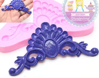 Decorative Embossed Scroll Crown Mold 443L* Silicone Mold Flexible Fondant Sugar Paste Cake Decorating Wedding Cake BEST QUALITY