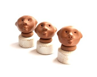 Tribal sculpture, Set of 3, Red clay sculpture, Cute sculpture, Mini sculpture, Head sculpture, Bushmen, African tribe, Desk accessories