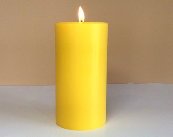 """Gold / Yellow Soy Pillar Candle Unscented - Choose 4"""", 6"""", 9"""" Tall"""