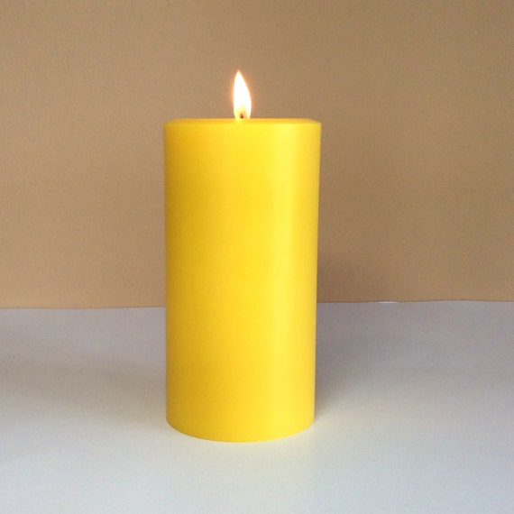 Gold / Yellow Soy Pillar Candle Unscented Choose 4