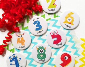 Monster Age Birthday Badge - Age Badge - Monster Birthday - Badge for Kids - Button Badge - Number Badge - Child Party Badge