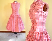 1950s Vintage Betty Barclay Red and White Gingham Dress size XS bust 32