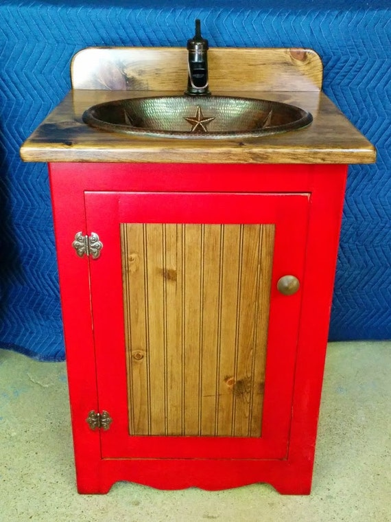"Rustic Bathroom Vanity with sink - 25"" - Bathroom Vanities -  Copper Sink - Red - Custom-made - Barn Red - Rustic Bathroom - Bathroom sink"