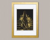 Desi Bride Ascending Stairs - Gold Foil Print on Black, Gold Print, Illustration Art Print