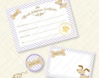 Purple Puppy Printable Adoption Certificate Kit pawty favor party favors stripes paw bone birthday instant download editable pdf digital