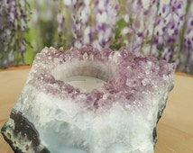 Raw Amethyst Candle Holder - Geode Candle Holder -  Gemstone - Healing Stones - Metaphysical - Crystals - Geode - Cluster - Druzy