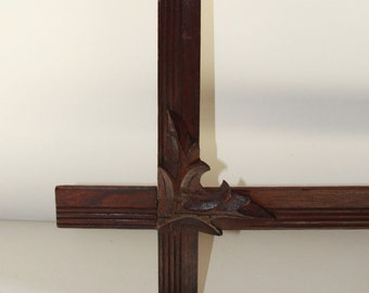 Adirondack Rustic Leaves Antique Crossed Corners/Solid Walnut Wood Frame c.1900/Excellent Condition/Original Finish/Ready to Use!