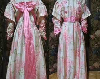 Exquisite Silk 1910-1912 Pink Wisteria Print Fancy Gown w/ Pink Silk Ribbon Adornments, Ruched Sleeves, Sz M, Wearable