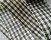 2 Yds Vintage Olive Green Gingham Trim   Ribbon   Yardage   NOS   Checked