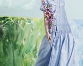 Maxi Linen Dress in baby blue, Prom Dress, Long Linen Dress, boho wedding dress, Evening Dress, Maxi pleated dress, bridesmaid dress,