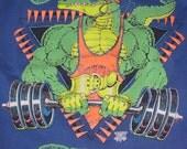 Don't Forget to Wipe the Blood off the Machines - Vintage 1980s GATOR GYM Bourbon Street New Orleans sweatshirt - 50/50- bodybuilder