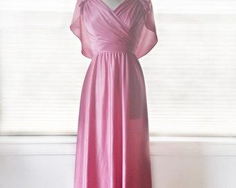 Vintage 70s pastel rose dress/ pink bridesmaid dress/ capelet Grecian maxi gown/ faux wrap carnation pink empire waist formal gown/ surplice