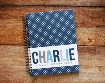 Baby Book - Pregnancy Journal - Modern Baby Book - Classic Dots - Navy
