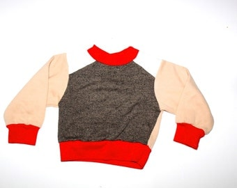 RETRO BOYS SHIRT - Hip Sweatshirt - Red, Tan, Brown - Vintage Kid