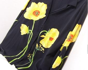 Women's Blouse  Overshirt Versatile Black High Fashion Vogue Yellow Floral  Design