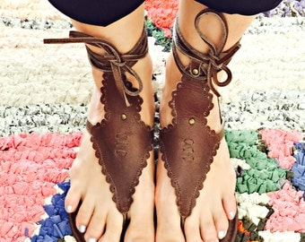 WILDFLOWER. Brown leather shoes / wrap sandals / brown leather sandals / bohemian shoes. Sizes 35-43. Available in different leather colors.