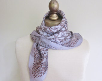 Vintage silk scarf, grey blossoms, neat and classy.Echo scarves, 1970s