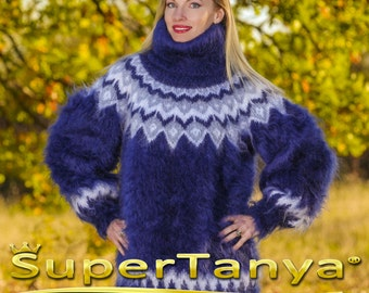 Made to order Icelandic hand knitted mohair super fuzzy sweater, blue turtleneck handmade pullover by SuperTanya