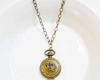 Pocket Watch Locket Necklace with Crown Design