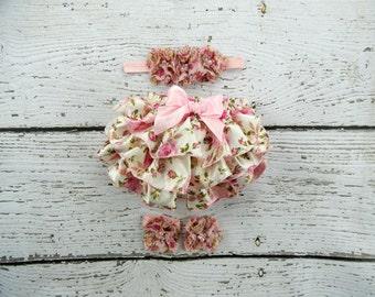 Pink Roses Ruffle Bloomers Headband Set / Floral Ruffle Bloomers / Satin Bloomers / Diaper Cover Headband Set / Newborn Photo Prop / Newborn