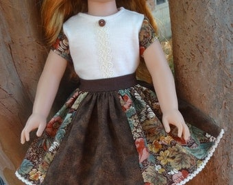 """14.5"""" Doll Clothes Patchwork Skirt in Fall Colors Fits American Girl Wellie Wishers and Heart4Heart Dolls"""