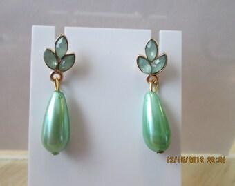 Post/Stud Earrings with Aqua Green Beads and a Aqua Green Teardrop Pearl Dangle